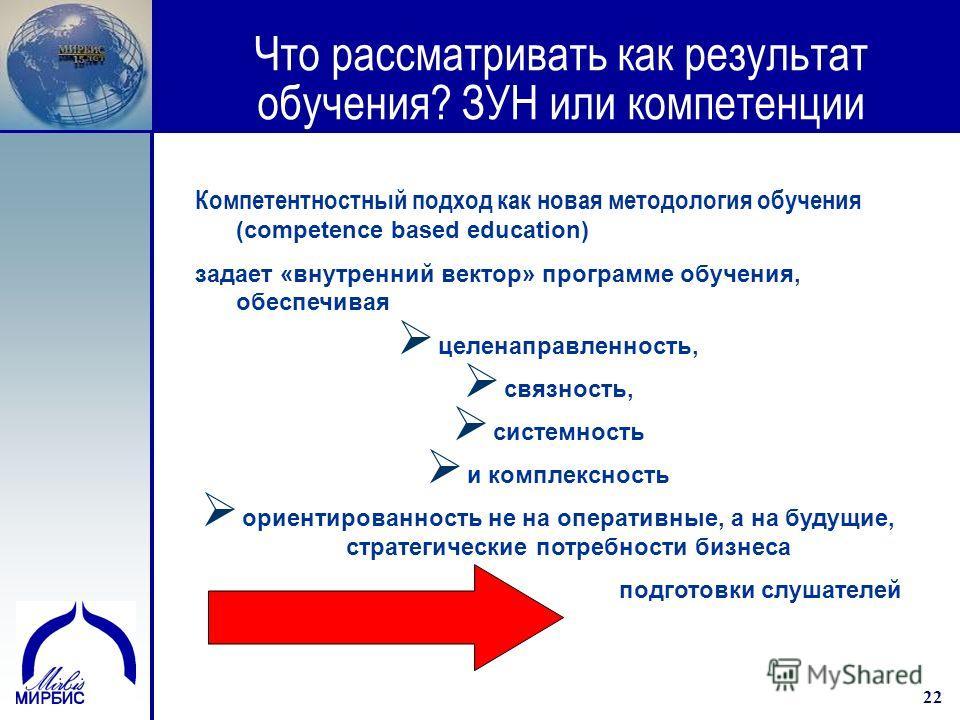 22 Что рассматривать как результат обучения? ЗУН или компетенции Компетентностный подход как новая методология обучения (competence based education) задает «внутренний вектор» программе обучения, обеспечивая целенаправленность, связность, системность