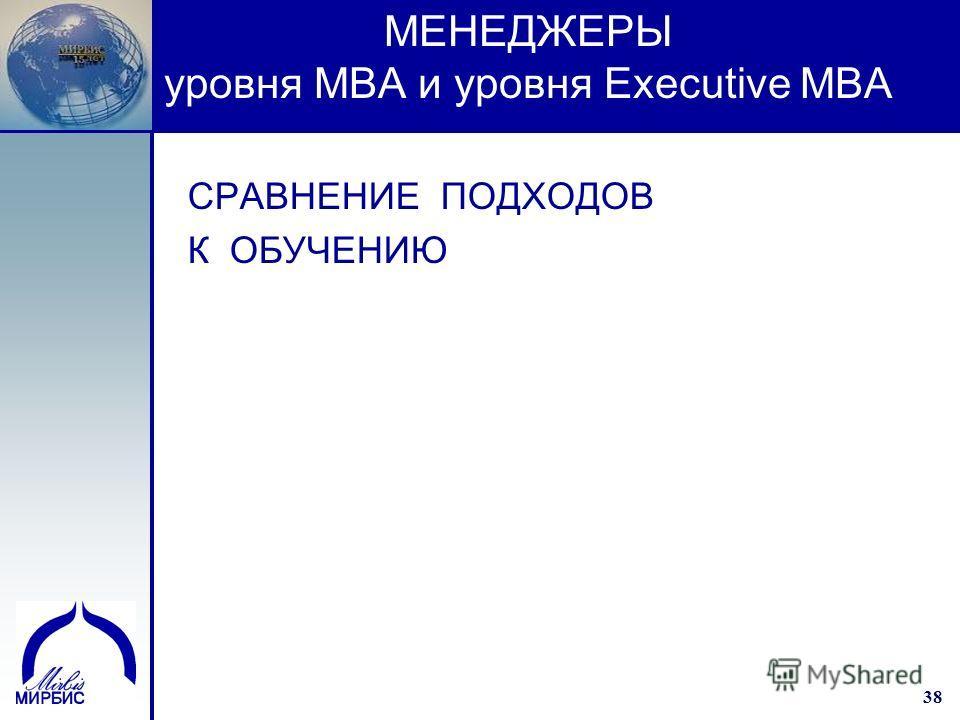 38 МЕНЕДЖЕРЫ уровня МВА и уровня Executive MBA CРАВНЕНИЕ ПОДХОДОВ К ОБУЧЕНИЮ