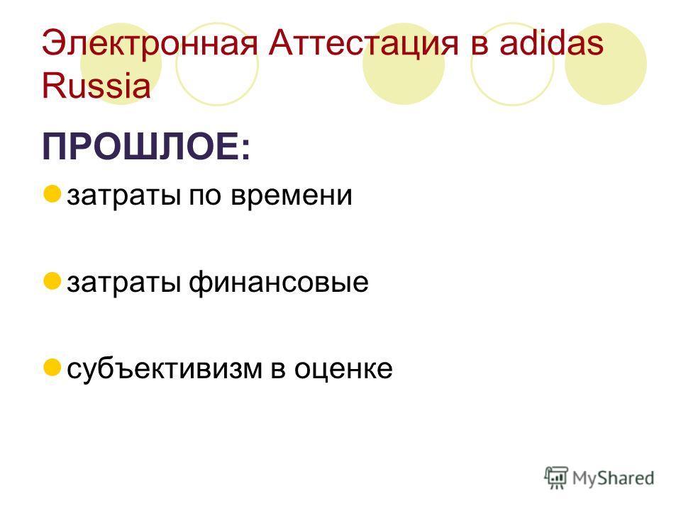 Электронная Аттестация в adidas Russia ПРОШЛОЕ: затраты по времени затраты финансовые субъективизм в оценке