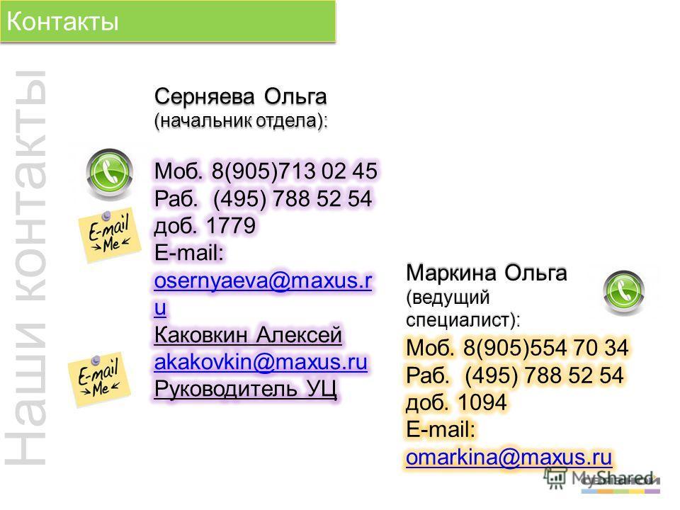 Контакты Серняева Ольга (начальник отдела): Наши контакты Маркина Ольга (ведущий специалист):