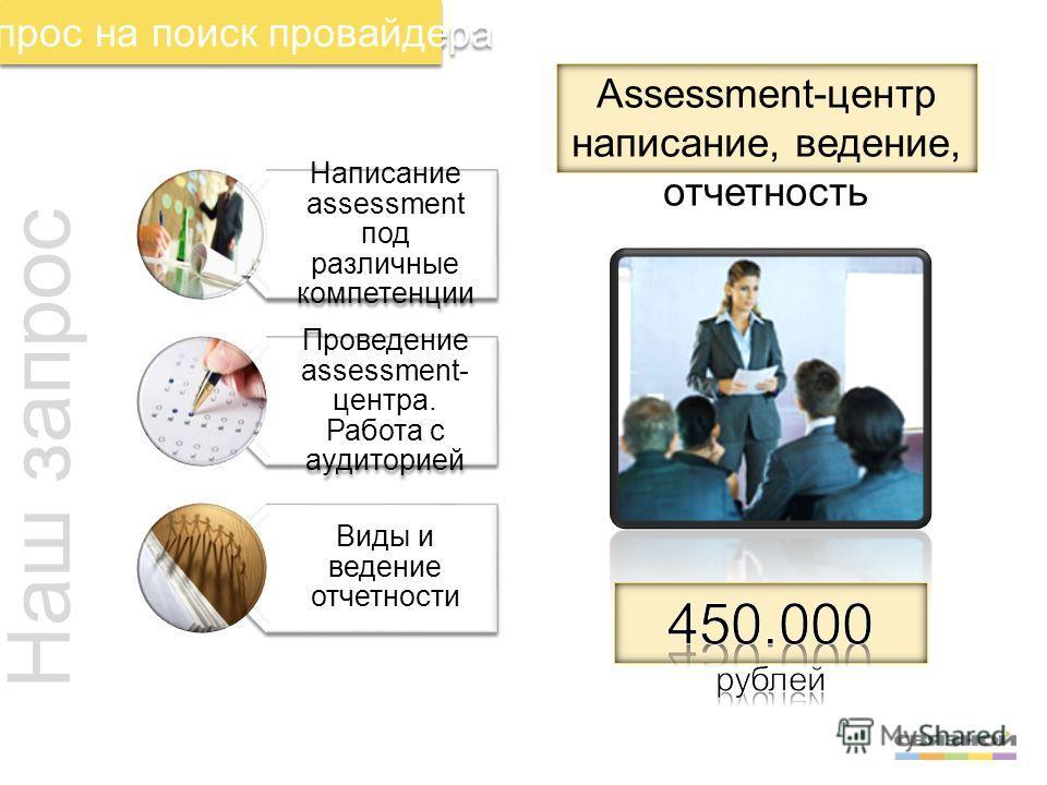Запрос на поиск провайдера Наш запрос Написание assessment под различные компетенции Проведение assessment- центра. Работа с аудиторией Виды и ведение отчетности Assessment-центр написание, ведение, отчетность