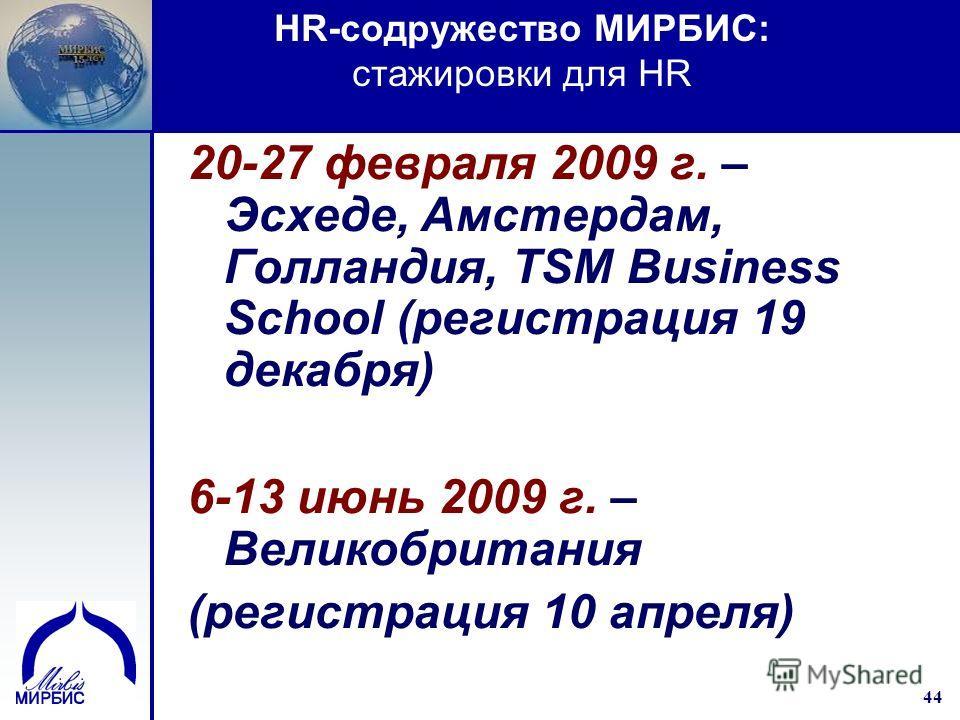 44 20-27 февраля 2009 г. – Эсхеде, Амстердам, Голландия, TSM Business School (регистрация 19 декабря) 6-13 июнь 2009 г. – Великобритания (регистрация 10 апреля) HR-cодружество МИРБИС: стажировки для HR