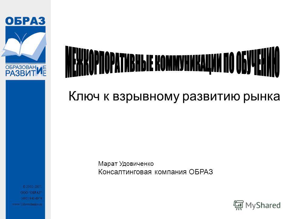 © 2002-2007, ООО ОБРАЗ (495) 940-6974 www.Udovichenko.ru Ключ к взрывному развитию рынка Марат Удовиченко Консалтинговая компания ОБРАЗ