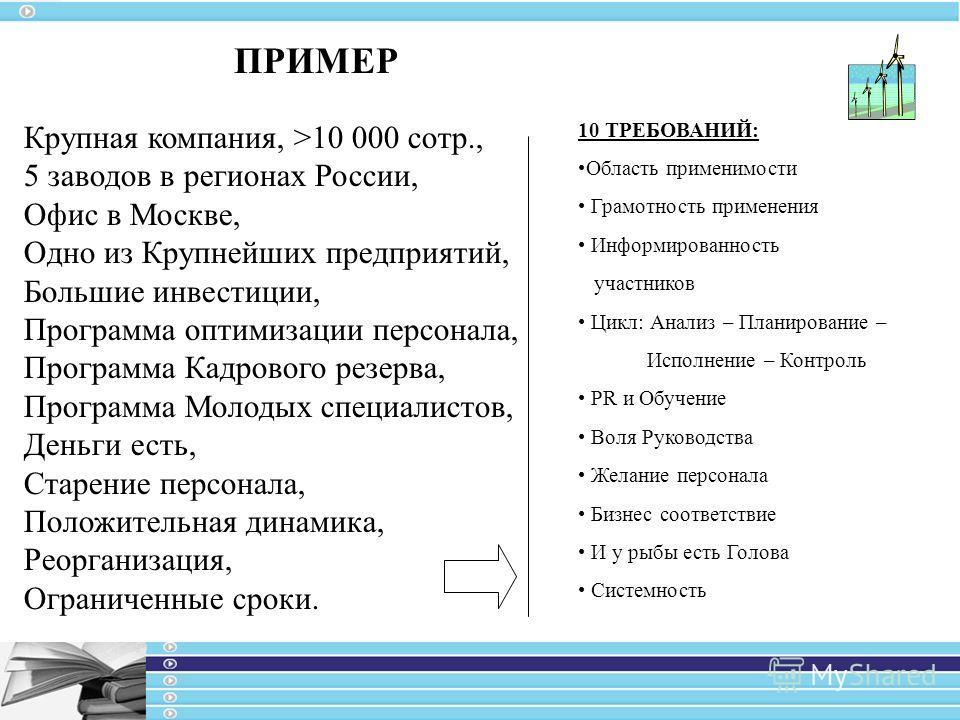 ПРИМЕР Крупная компания, >10 000 сотр., 5 заводов в регионах России, Офис в Москве, Одно из Крупнейших предприятий, Большие инвестиции, Программа оптимизации персонала, Программа Кадрового резерва, Программа Молодых специалистов, Деньги есть, Старени