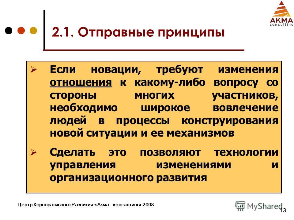 Центр Корпоративного Развития «Акма – консалтинг» 2008 13 2.1. Отправные принципы Если новации, требуют изменения отношения к какому-либо вопросу со стороны многих участников, необходимо широкое вовлечение людей в процессы конструирования новой ситуа