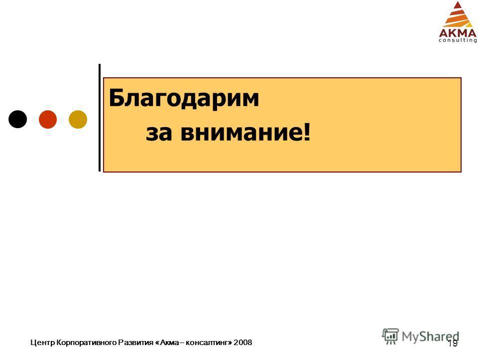 Центр Корпоративного Развития «Акма – консалтинг» 2008 19 Благодарим за внимание!