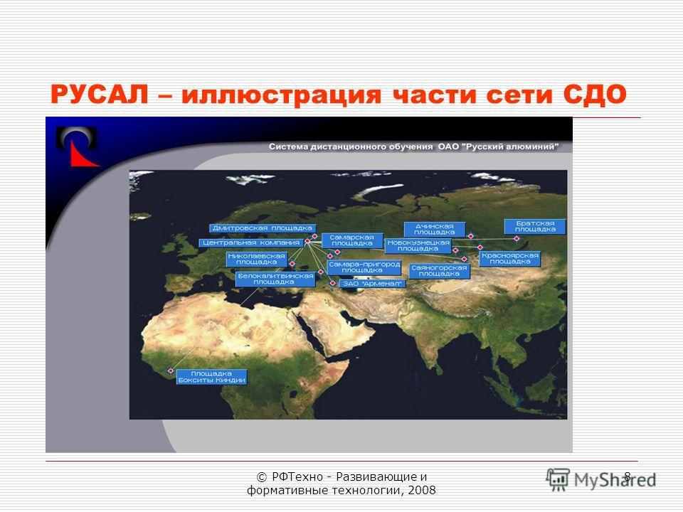 © РФТехно - Развивающие и формативные технологии, 2008 8 РУСАЛ – иллюстрация части сети СДО