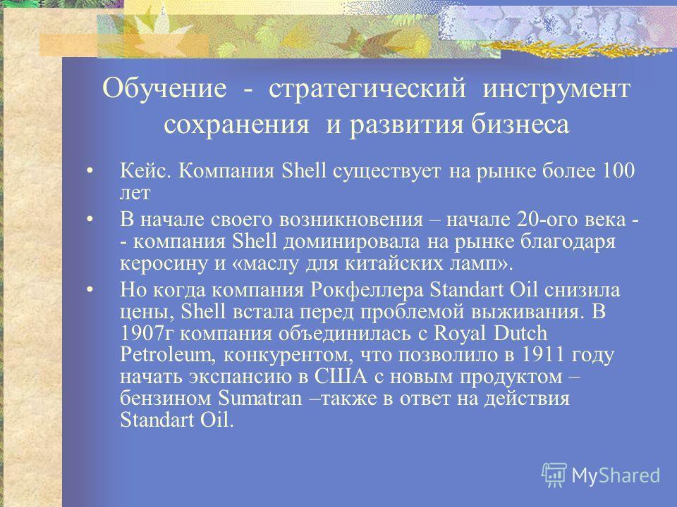 Обучение - стратегический инструмент сохранения и развития бизнеса Кейс. Компания Shell существует на рынке более 100 лет В начале своего возникновения – начале 20-ого века - - компания Shell доминировала на рынке благодаря керосину и «маслу для кита