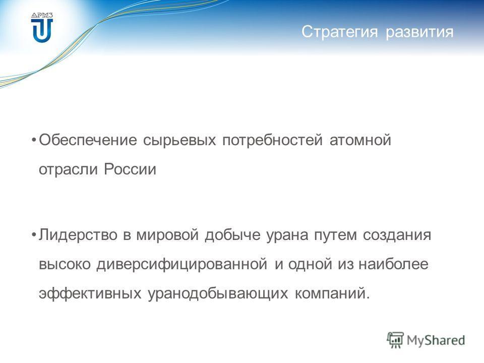 Стратегия развития Обеспечение сырьевых потребностей атомной отрасли России Лидерство в мировой добыче урана путем создания высоко диверсифицированной и одной из наиболее эффективных уранодобывающих компаний.