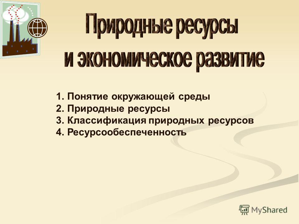 1.Понятие окружающей среды 2.Природные ресурсы 3.Классификация природных ресурсов 4.Ресурсообеспеченность