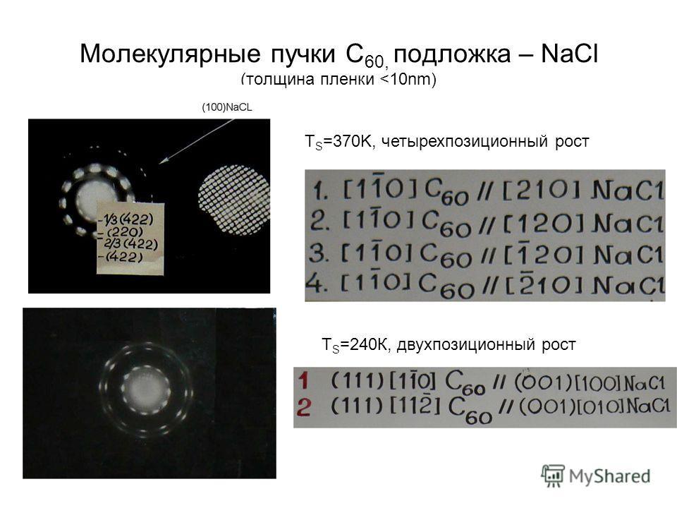 Молекулярные пучки C 60, подложка – NaCl (толщина пленки