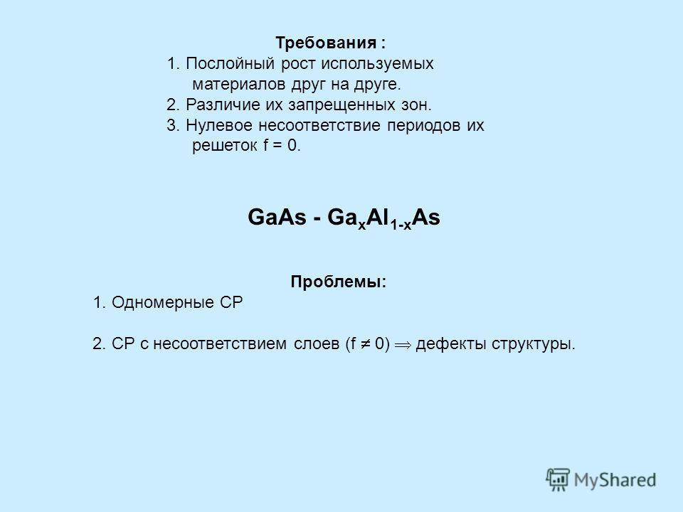 Требования : 1. Послойный рост используемых материалов друг на друге. 2. Различие их запрещенных зон. 3. Нулевое несоответствие периодов их решеток f = 0. Проблемы: 1. Одномерные СР 2. СР с несоответствием слоев (f 0) дефекты структуры. GaAs - Ga x A