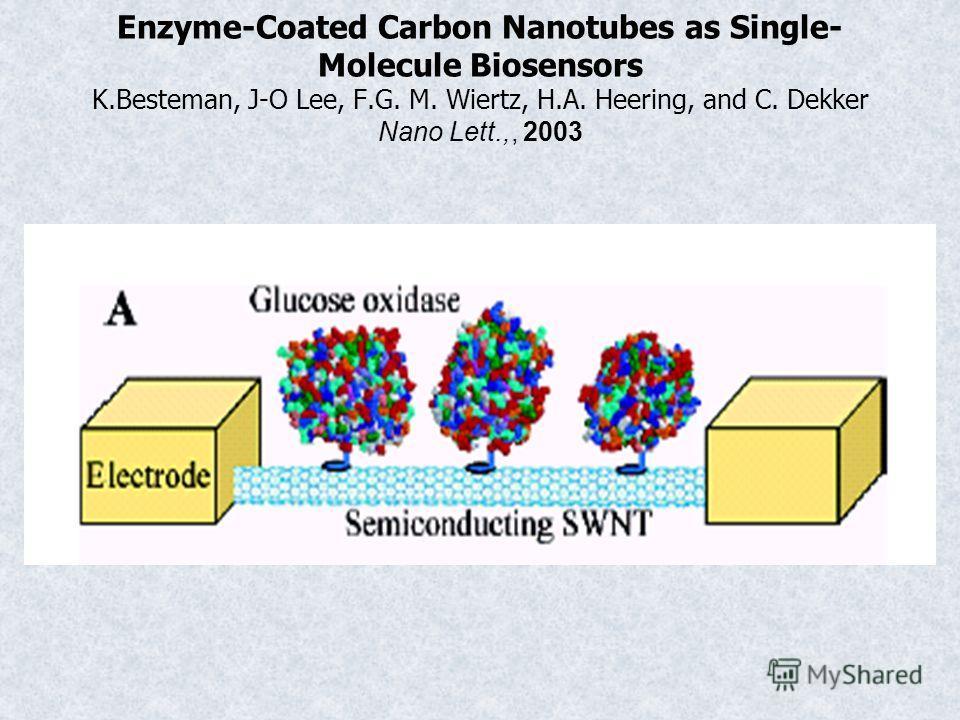 Enzyme-Coated Carbon Nanotubes as Single- Molecule Biosensors K.Besteman, J-O Lee, F.G. M. Wiertz, H.A. Heering, and C. Dekker Nano Lett.,, 2003