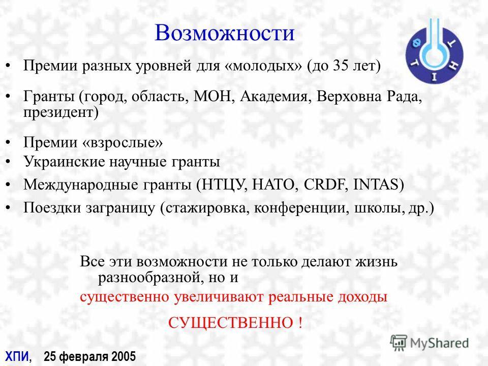 Возможности Гранты (город, область, МОН, Академия, Верховна Рада, президент) Премии разных уровней для «молодых» (до 35 лет) Премии «взрослые» Украинские научные гранты Международные гранты (НТЦУ, НАТО, CRDF, INTAS) Поездки заграницу (стажировка, кон