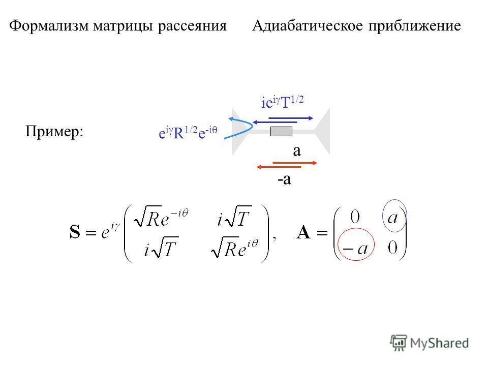 Формализм матрицы рассеяния Адиабатическое приближение Пример: e i R 1/2 e -i ie i T 1/2 a -a