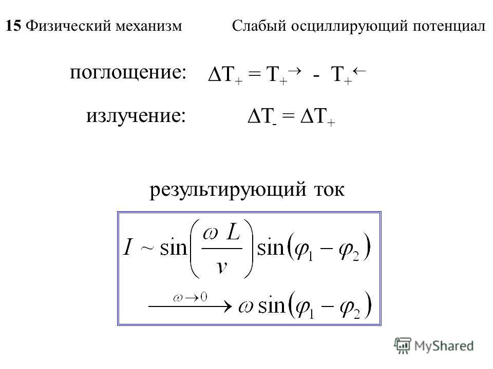 поглощение: T + = T + - T + излучение: T - = T + результирующий ток 15 Физический механизм Слабый осциллирующий потенциал