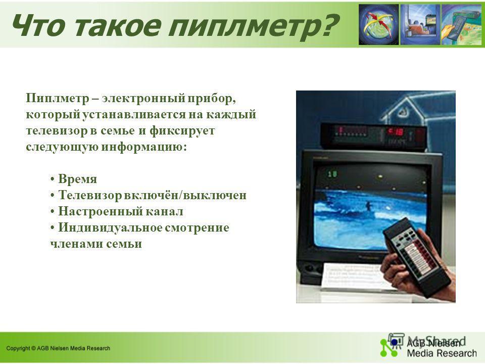 Что такое пиплметр? Пиплметр – электронный прибор, который устанавливается на каждый телевизор в семье и фиксирует следующую информацию: Время Телевизор включён/выключен Настроенный канал Индивидуальное смотрение членами семьи