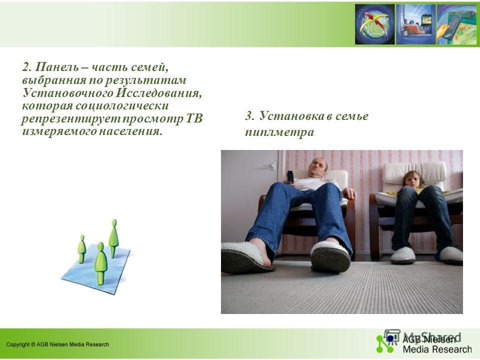 2. Панель – часть семей, выбранная по результатам Установочного Исследования, которая социологически репрезентирует просмотр ТВ измеряемого населения. 3. Установка в семье пиплметра