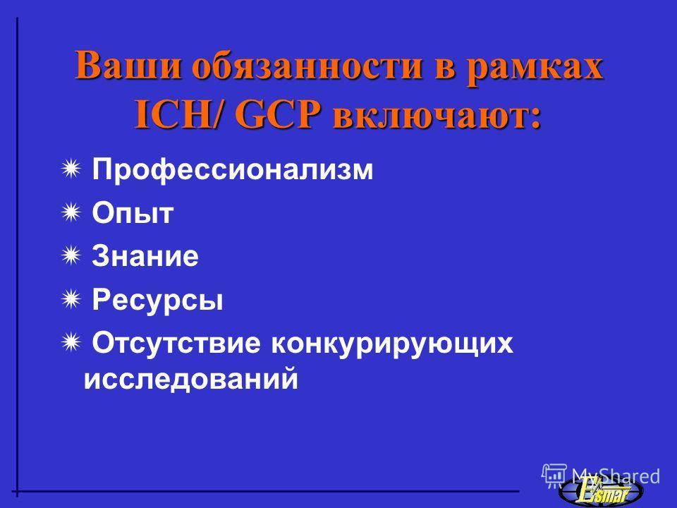 Все же – что такое GCP? Международный Этический и Научный стандарт для планирования, проведения, регистрации исследований с участием человека. Два принципа: качество данных защита интересов пациента (безопасность и сохранность) ICH Guideline for GCP