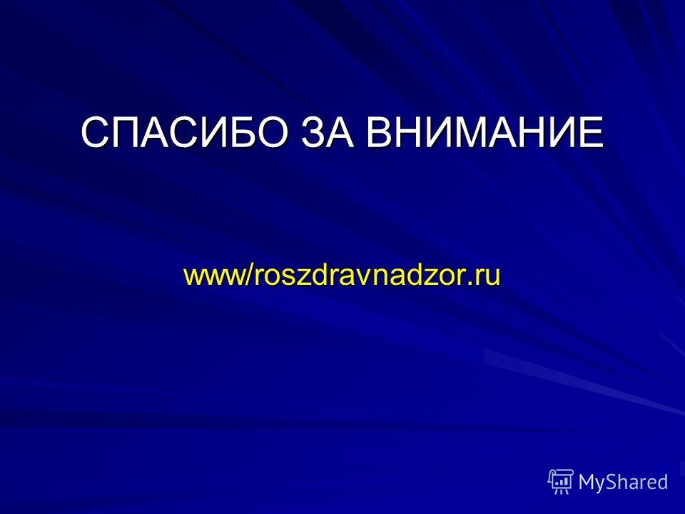 СПАСИБО ЗА ВНИМАНИЕ www/roszdravnadzor.ru