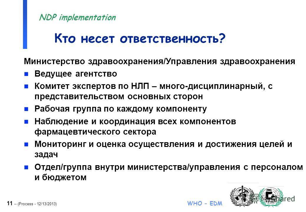11 -- (Process - 12/13/2013) WHO - EDM NDP implementation Министерство здравоохранения/Управления здравоохранения n Ведущее агентство n Комитет экспертов по НЛП – много-дисциплинарный, с представительством основных сторон n Рабочая группа по каждому