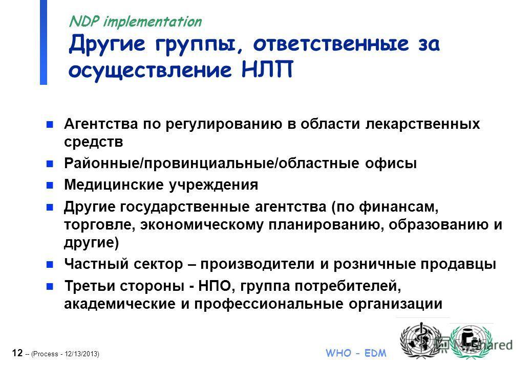 12 -- (Process - 12/13/2013) WHO - EDM NDP implementation Другие группы, ответственные за осуществление НЛП n Агентства по регулированию в области лекарственных средств n Районные/провинциальные/областные офисы n Медицинские учреждения n Другие госуд