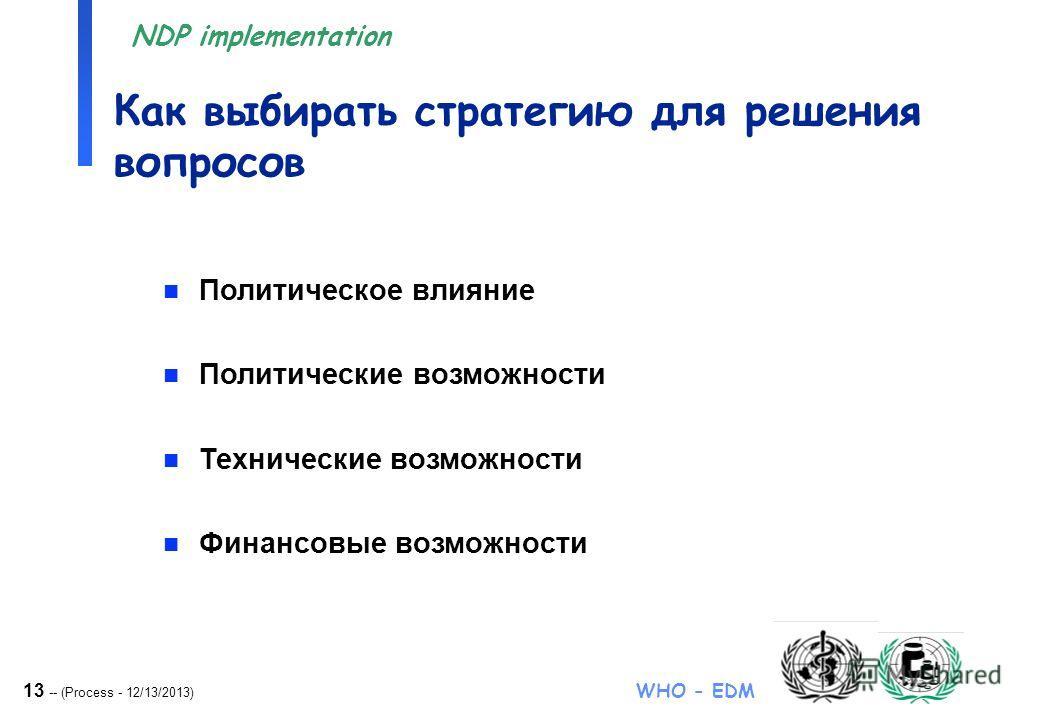 13 -- (Process - 12/13/2013) WHO - EDM NDP implementation Как выбирать стратегию для решения вопросов n Политическое влияние n Политические возможности n Технические возможности n Финансовые возможности