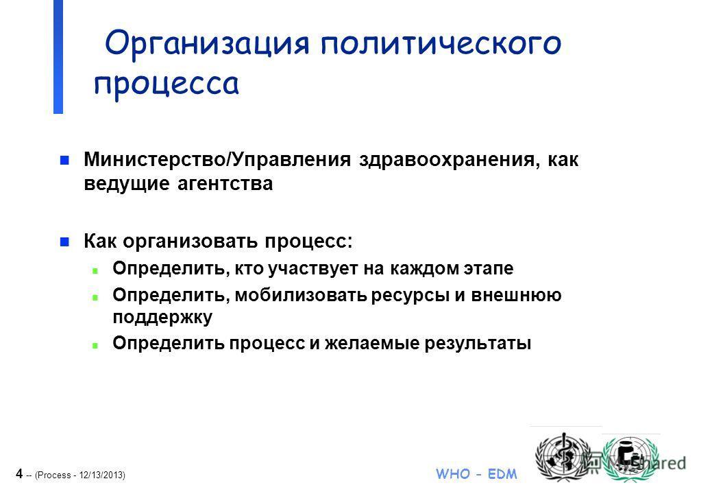 4 -- (Process - 12/13/2013) WHO - EDM NDP formulation Организация политического процесса n Министерство/Управления здравоохранения, как ведущие агентства n Как организовать процесс: n Определить, кто участвует на каждом этапе n Определить, мобилизова