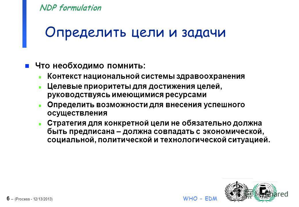 6 -- (Process - 12/13/2013) WHO - EDM NDP formulation Определить цели и задачи n Что необходимо помнить: n Контекст национальной системы здравоохранения n Целевые приоритеты для достижения целей, руководствуясь имеющимися ресурсами n Определить возмо