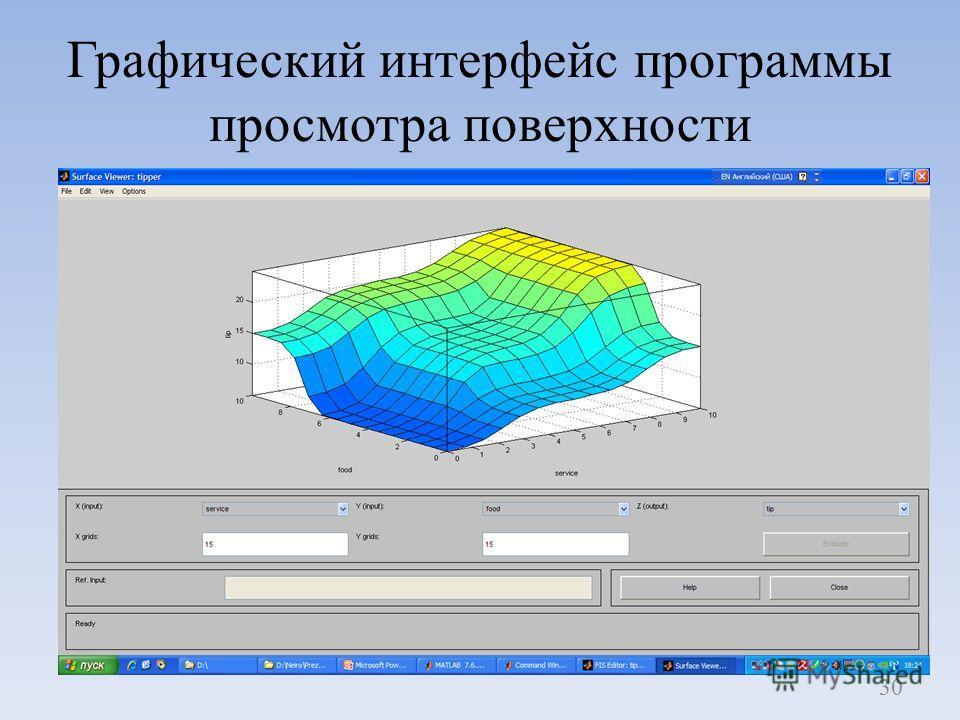 Графический интерфейс программы просмотра поверхности 30