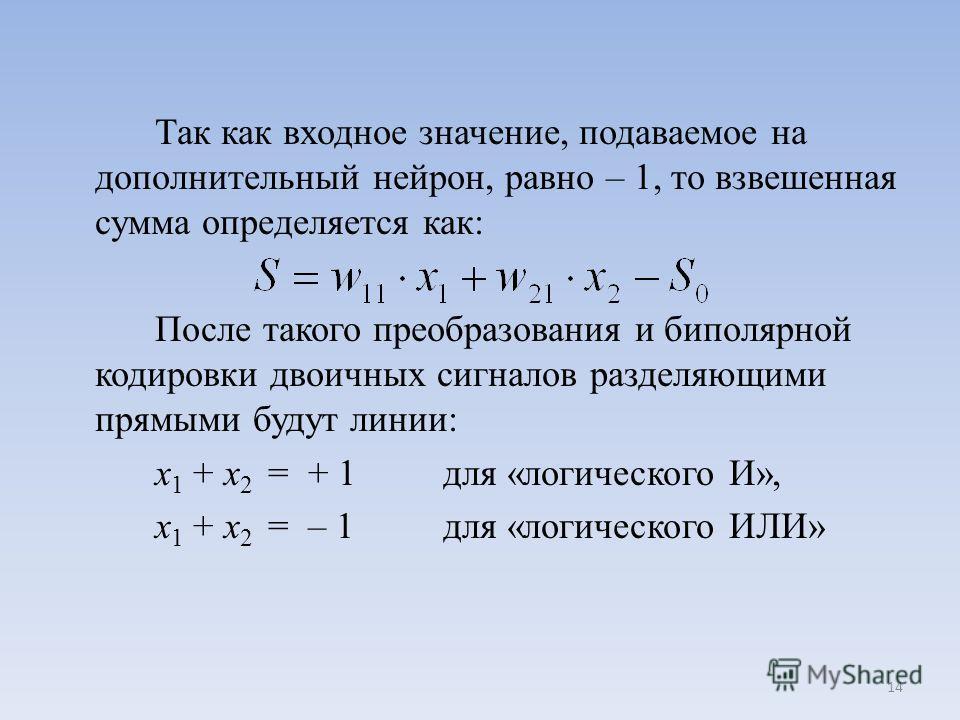 Так как входное значение, подаваемое на дополнительный нейрон, равно – 1, то взвешенная сумма определяется как: После такого преобразования и биполярной кодировки двоичных сигналов разделяющими прямыми будут линии: x 1 + x 2 = + 1 для «логического И»