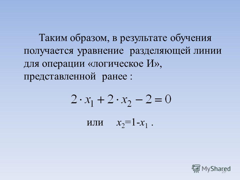 Таким образом, в результате обучения получается уравнение разделяющей линии для операции «логическое И», представленной ранее : или x 2 =1-x 1. 20