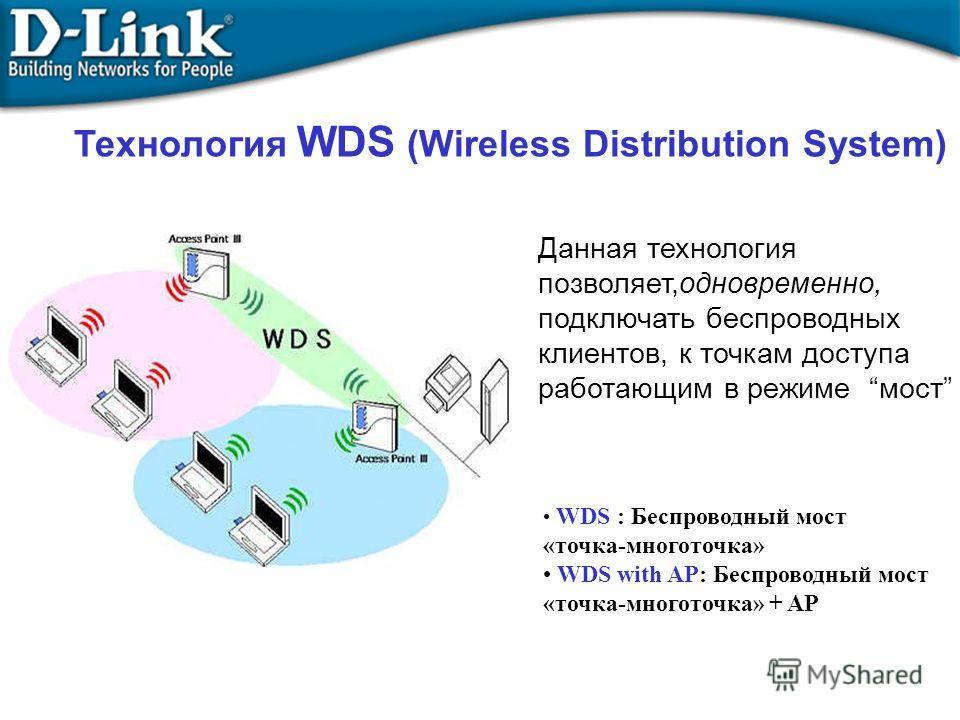 Технология WDS (Wireless Distribution System) Данная технология позволяет,одновременно, подключать беспроводных клиентов, к точкам доступа работающим в режиме мост WDS : Беспроводный мост «точка-многоточка» WDS with AP: Беспроводный мост «точка-много