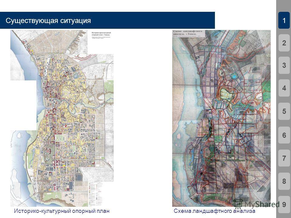 Существующая ситуация 21341567892 Историко-культурный опорный план Схема ландшафтного анализа
