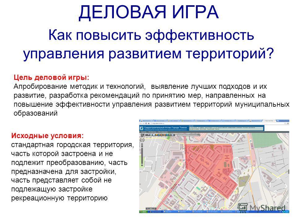 ДЕЛОВАЯ ИГРА Как повысить эффективность управления развитием территорий? Исходные условия: стандартная городская территория, часть которой застроена и не подлежит преобразованию, часть предназначена для застройки, часть представляет собой не подлежащ