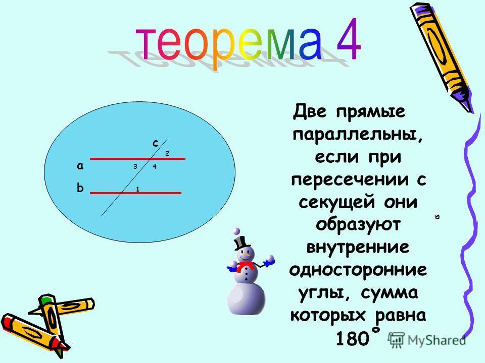Две прямые параллельны, если при пересечении с секущей они образуют внутренние односторонние углы, сумма которых равна 180 ˚ с 2 a 3 4 b 1