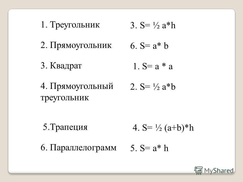 1. Треугольник 3. S= ½ a*h 2. Прямоугольник 6. S= a* b 3. Квадрат 1. S= a * a 4. Прямоугольный треугольник 2. S= ½ a*b 5.Трапеция 4. S= ½ (a+b)*h 6. Параллелограмм 5. S= a* h