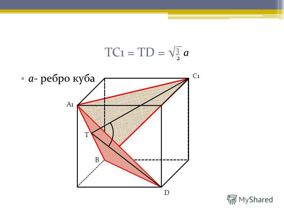 ТС1 = ТD = 3 а- ребро куба А1 С1 Т D В 2 а