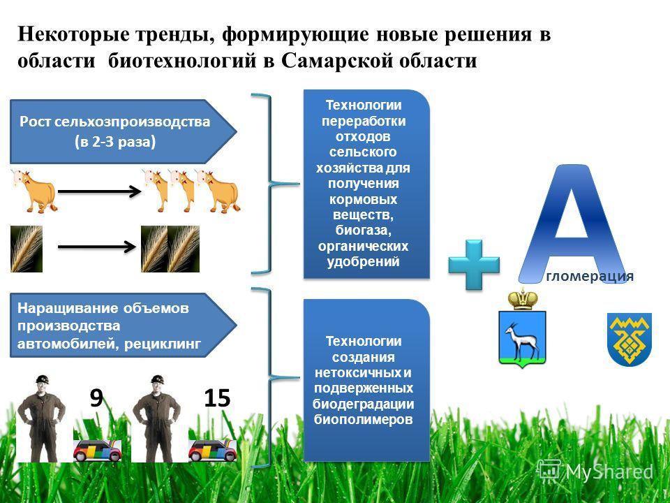 Некоторые тренды, формирующие новые решения в области биотехнологий в Самарской области Рост сельхозпроизводства (в 2-3 раза) Технологии переработки отходов сельского хозяйства для получения кормовых веществ, биогаза, органических удобрений Наращиван