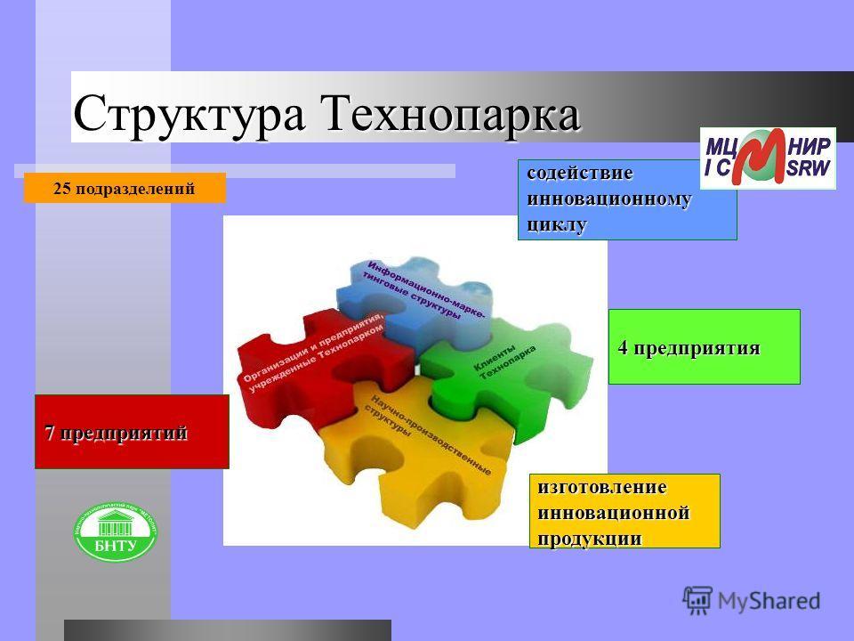Структура Технопарка 7 предприятий содействие инновационному циклу изготовление инновационной продукции 4 предприятия 25 подразделений