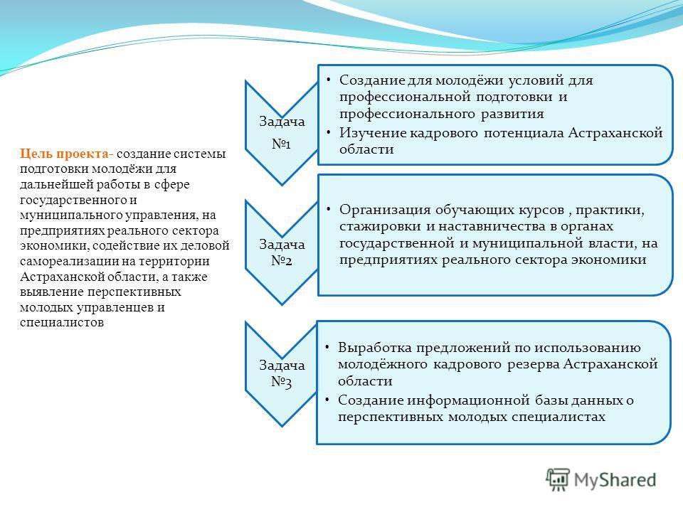 Цель проекта- создание системы подготовки молодёжи для дальнейшей работы в сфере государственного и муниципального управления, на предприятиях реального сектора экономики, содействие их деловой самореализации на территории Астраханской области, а так