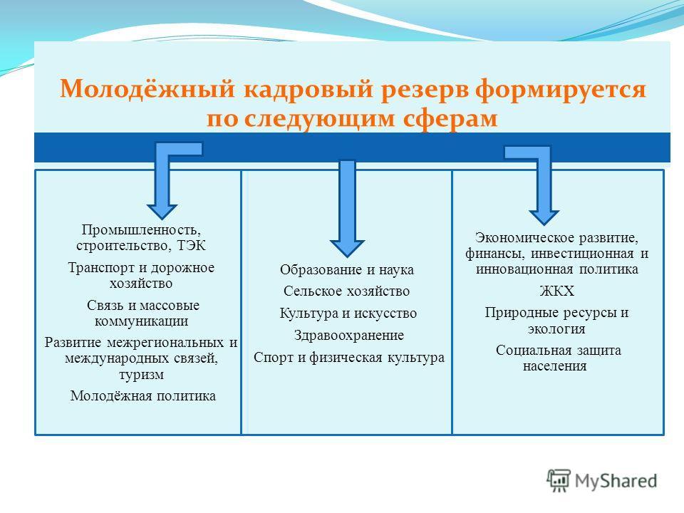 Молодёжный кадровый резерв формируется по следующим сферам Промышленность, строительство, ТЭК Транспорт и дорожное хозяйство Связь и массовые коммуникации Развитие межрегиональных и международных связей, туризм Молодёжная политика Образование и наука