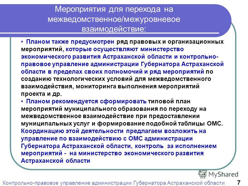 Планом также предусмотрен ряд правовых и организационных мероприятий, которые осуществляют министерство экономического развития Астраханской области и контрольно- правовое управление администрации Губернатора Астраханской области в пределах своих пол