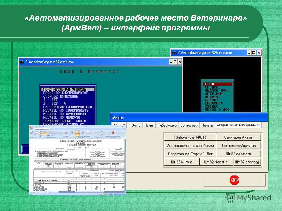 «Автоматизированное рабочее место Ветеринара» (АрмВет) – интерфейс программы