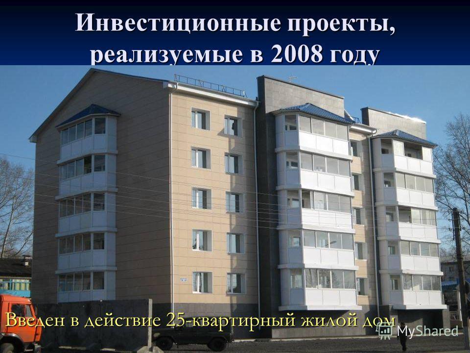 Инвестиционные проекты, реализуемые в 2008 году Введены в действие 40-квартирный жилой дом Введены в действие 32 индивидуальных жилых дома (общая площадь 2802 кв.м) Введены в действие 60-квартирный жилой дом Введен в действие 25-квартирный жилой дом