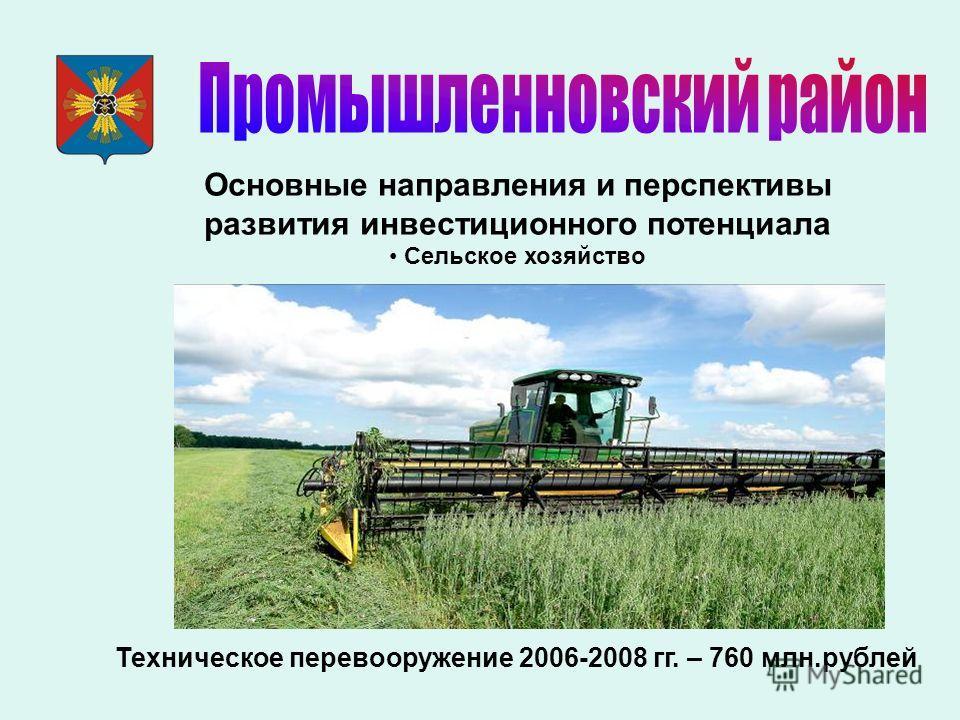 Основные направления и перспективы развития инвестиционного потенциала Сельское хозяйство Техническое перевооружение 2006-2008 гг. – 760 млн.рублей