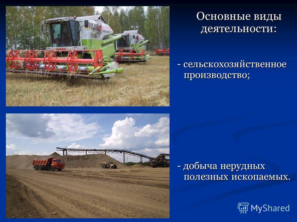 - сельскохозяйственное производство; - сельскохозяйственное производство; - добыча нерудных полезных ископаемых. - добыча нерудных полезных ископаемых. Основные виды деятельности:
