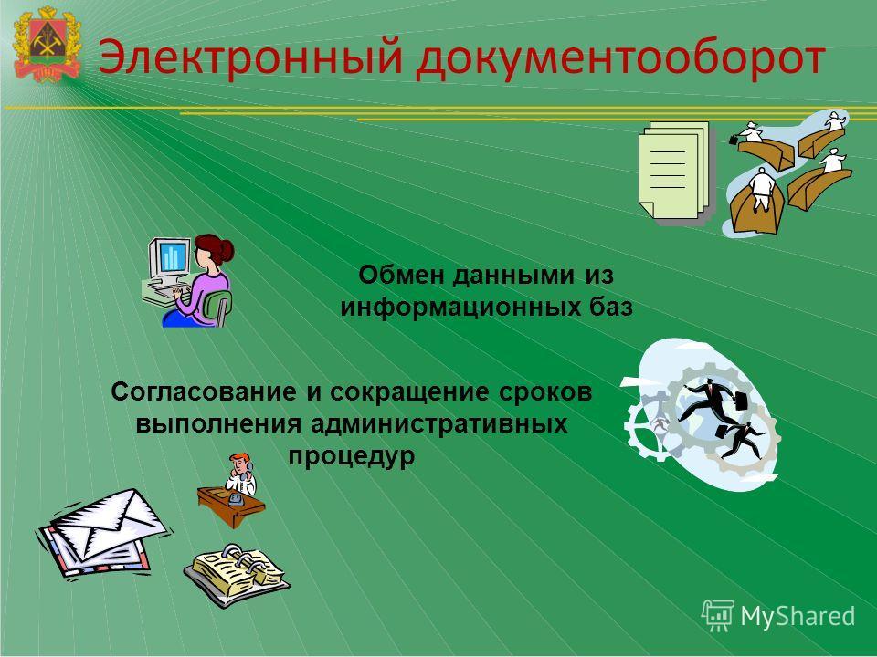 Обмен данными из информационных баз Согласование и сокращение сроков выполнения административных процедур Электронный документооборот