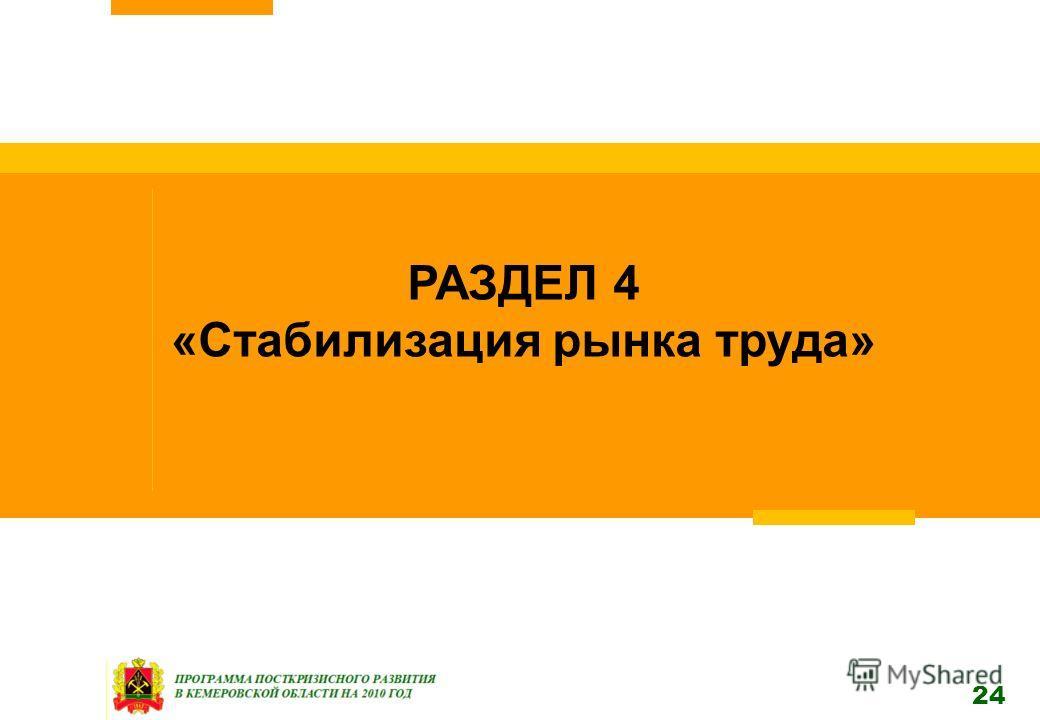 24 РАЗДЕЛ 4 «Стабилизация рынка труда»