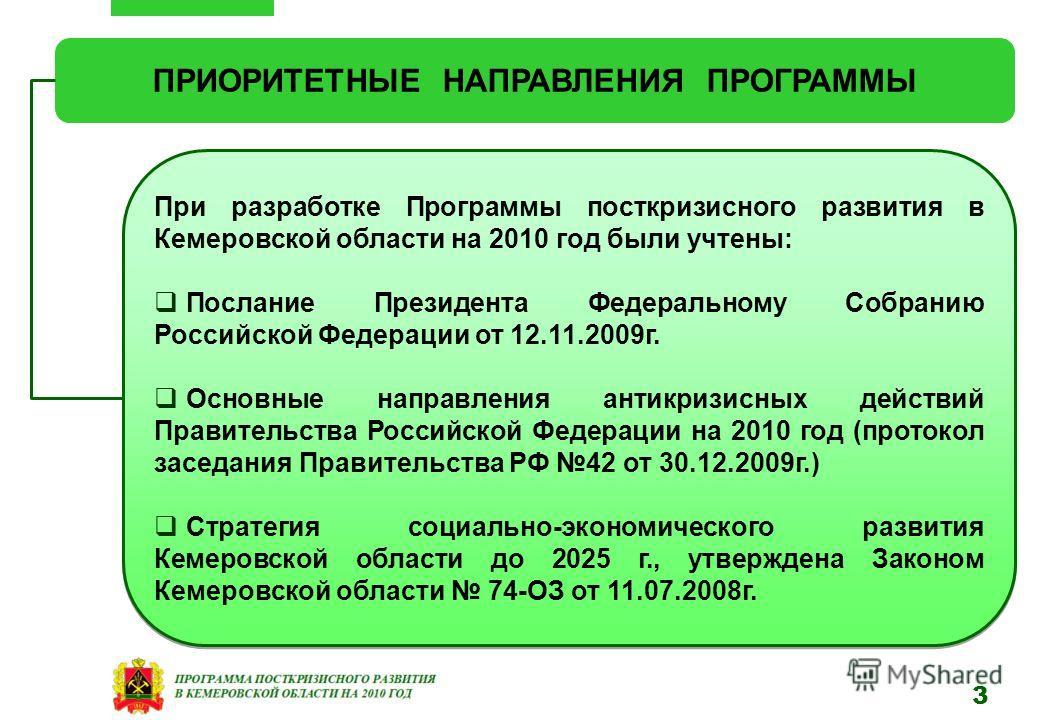 ПРИОРИТЕТНЫЕ НАПРАВЛЕНИЯ ПРОГРАММЫ При разработке Программы посткризисного развития в Кемеровской области на 2010 год были учтены: Послание Президента Федеральному Собранию Российской Федерации от 12.11.2009г. Основные направления антикризисных дейст